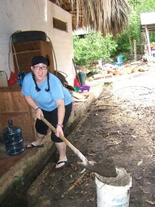 Crystal cleaning drainage system at animal refuge in Guatemala