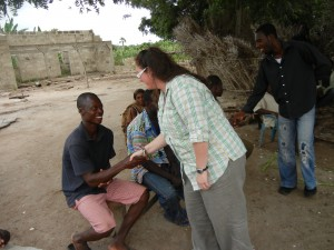 Crystal meeting locals in Ghana.