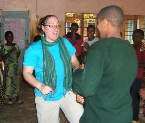 "Crystal singing ""Little Sally Walker"" with the students in Mwanga, Tanzania"