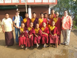 Crystal with all the monks before her send off