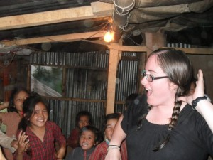 Crystal playing Little Sally Walker with the school children of Kaule, Nepal