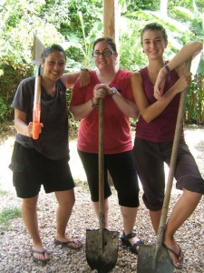 Crystal, Danielle, and Nadege getting ready for work at ARCAS. Guatemala.