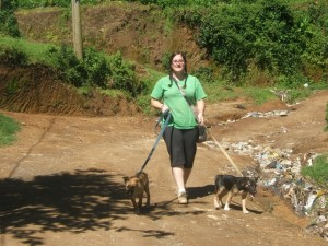 Crystal walking the dogs at AWARE. Guatemala.