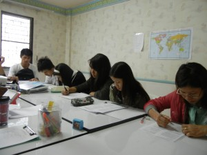 Burmese refugees studying for their GED
