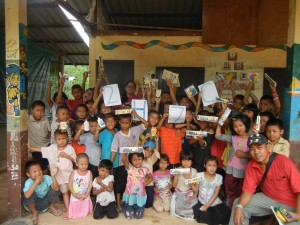 Crystal with the students of the Hilltribe Learning Center in Sangkhlaburi, Thailand after handing out school supplies.