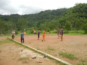 Students of the Hilltribe Learning Center in Sangkhlaburi, Thailand playing soccer