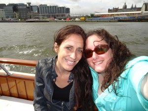 Crystal and Janine on a Canal tour in Amsterdam