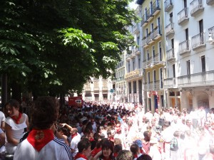 Crystal and Janine in Pamplona for the opening of San Fermin
